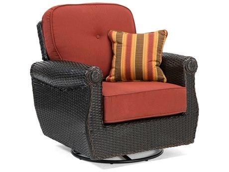 La-Z-Boy Breckenridge Quick Ship Wicker Java Brown Swivel Rocker Lounge Chair in Meredian Brick Red
