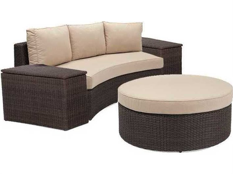 Winston Quick Ship Capri Woven Cushion 4 Piece Sectional Crescent Sofa Set