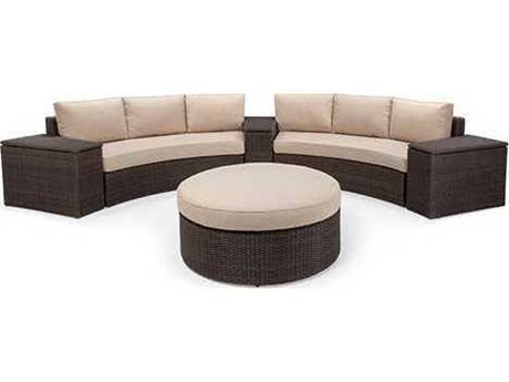 Winston Quick Ship Capri Woven Cushion 6 Piece Sectional Crescent Sofa Set PatioLiving