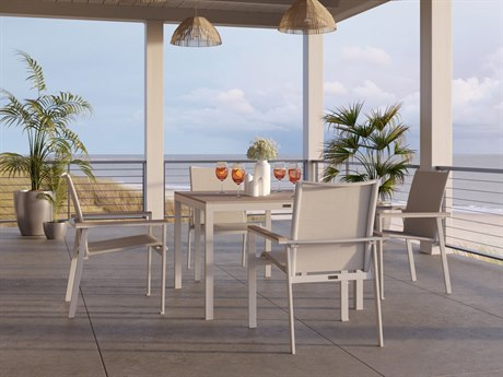 Winston Quick Ship Echo Sling Aluminum Fog Resin Wood 5 Piece Dining Set in Sunbrella Space