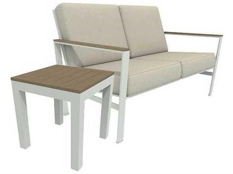 Winston Quick Ship Echo Deep Seating Aluminum Resin Wood 2 Piece Loveseat Set