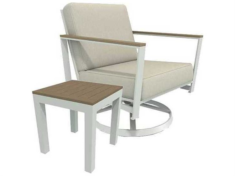 Winston Quick Ship Echo Deep Seating Aluminum Resin Wood 2 Piece Swivel Tilt Lounge Set PatioLiving