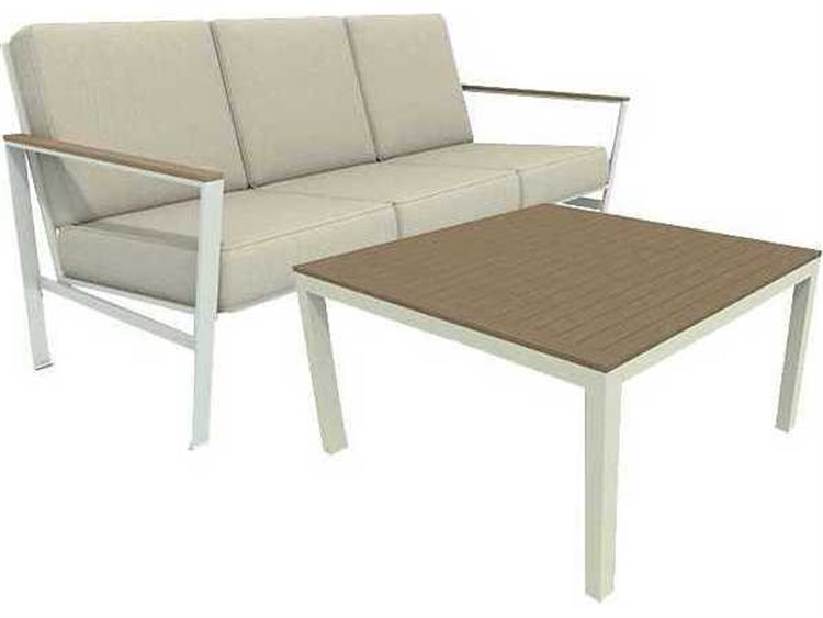 Winston Quick Ship Echo Deep Seating Aluminum Resin Wood 2 Piece Sofa Lounge Set