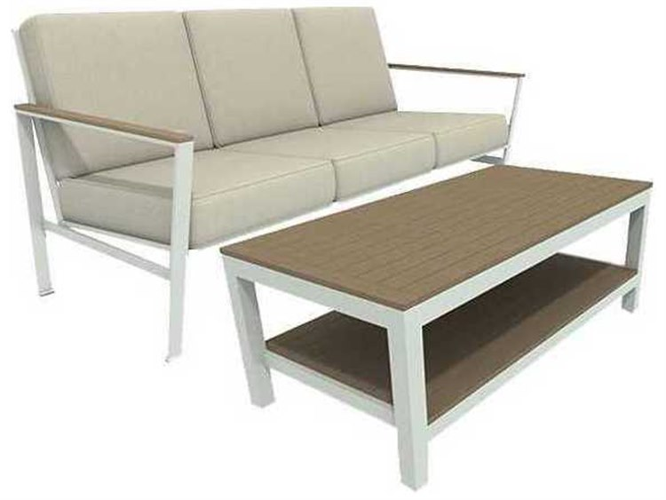 Winston Quick Ship Echo Deep Seating Aluminum Resin Wood 2 Piece Sofa Lounge Set PatioLiving