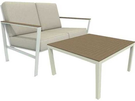 Winston Quick Ship Echo Deep Seating Aluminum Resin Wood Loveseat Lounge Set