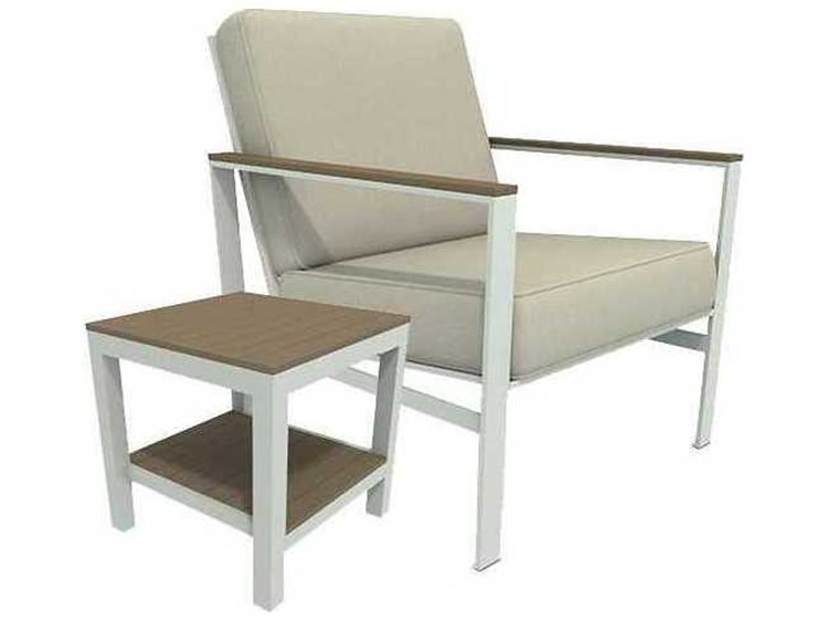 Winston Quick Ship Echo Deep Seating Aluminum Resin Wood 2 Piece Lounge Set PatioLiving