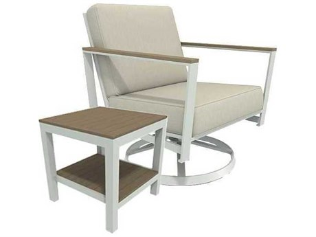 Winston Quick Ship Echo Deep Seating Aluminum Resin Wood 2 Piece Swivel Tilt Lounge Set