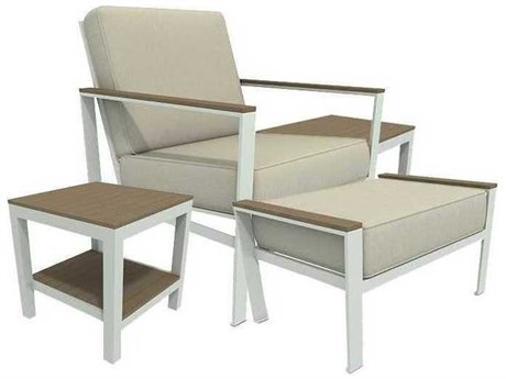 Winston Quick Ship Echo Deep Seating Aluminum Resin Wood 4 Piece Lounge Set