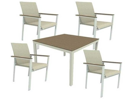 Winston Quick Ship Echo Sling Aluminum Resin Wood 5 Piece Dining Set