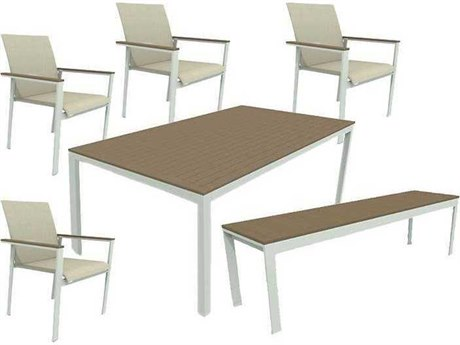 Winston Quick Ship Echo Sling Aluminum Resin Wood 6 Piece Dining Set