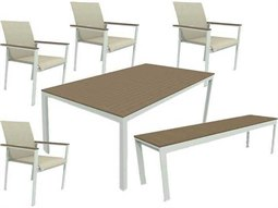 Quick Ship Echo Sling Aluminum Resin Wood 6 Piece Dining Set