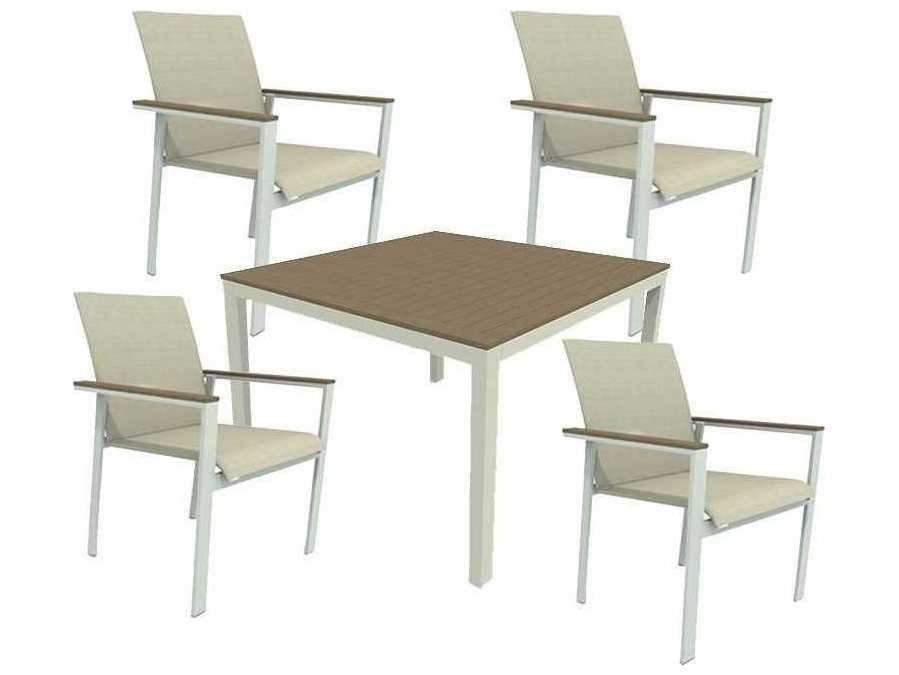 Ship Echo Sling Aluminum Resin Wood 5 Piece Dining Set WSECHODINSET