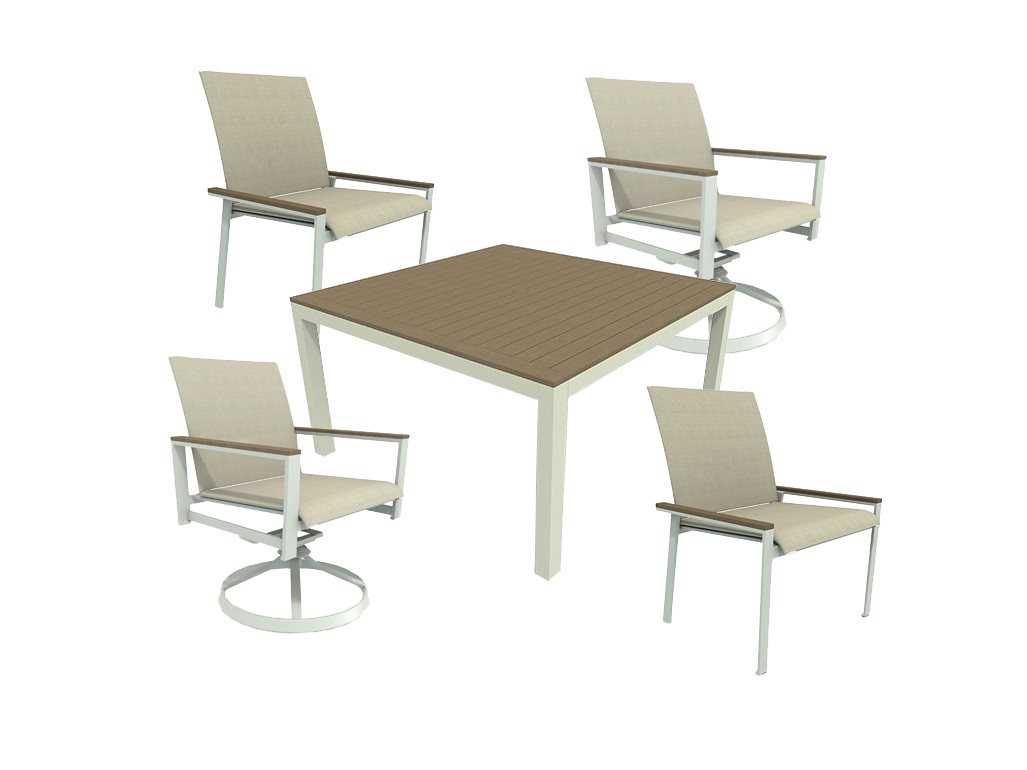Winston Quick Ship Echo Sling Aluminum Dining Set With Fog Finish And