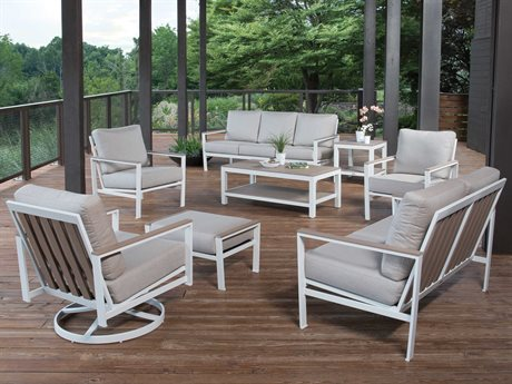 Winston Quick Ship Echo Deep Seating Aluminum Resin Wood Lounge Set