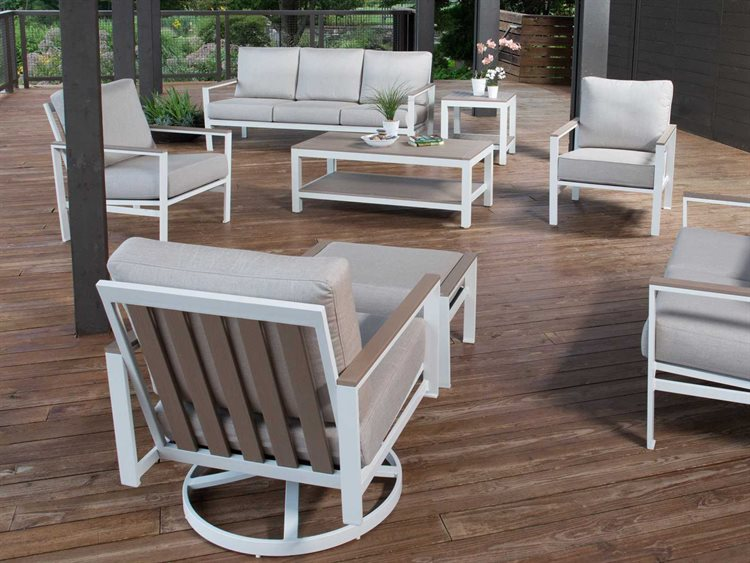 Winston Quick Ship Echo Deep Seating Aluminum Resin Wood 7 Piece Lounge Set PatioLiving