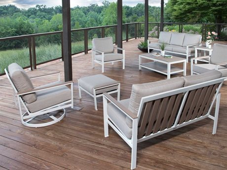 Winston Quick Ship Echo Deep Seating Aluminum Resin Wood 7 Piece Lounge Set