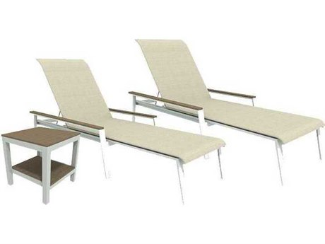 Winston Quick Ship Echo Sling Aluminum Resin Wood 3 Piece Stacking Chaise Lounge Set