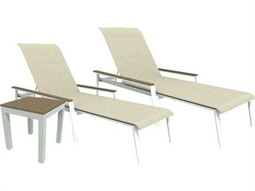 Quick Ship Echo Sling Aluminum Resin Wood 3 Piece Stacking Chaise Lounge Set