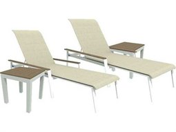 Quick Ship Echo Sling Aluminum Resin Wood 4 Piece Sacking Chaise Lounge Set