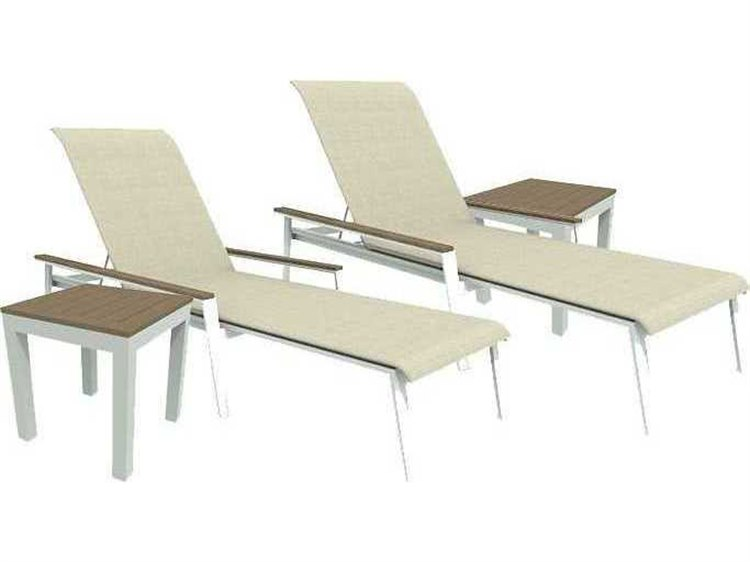 Winston Quick Ship Echo Sling Aluminum Resin Wood 4 Piece Sacking Chaise Lounge Set