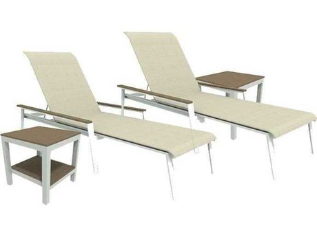 Winston Quick Ship Echo Sling Aluminum Resin Wood 4 Piece Stacking Chaise Lounge Set