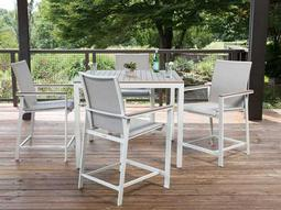Quick Ship Echo Sling Aluminum Resin Wood 5 Dining Set