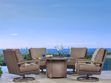 Winston Hampton Sectional Quick Ship Barnwood Finish and Parchment Wicker Lounge Set PatioLiving