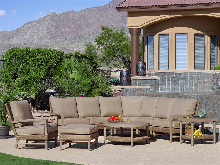 Winston Hampton Quick Ship Barnwood Finish and Parchment Wicker Sectional Set