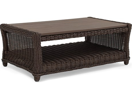 Winston Breeze Woven 44 x 26 Rectangular Resin Wood Coffee Table