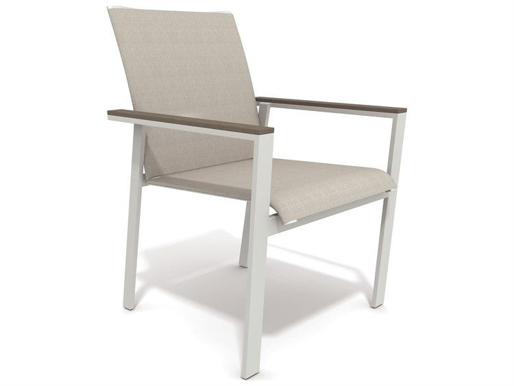 Winston Quick Ship Echo Sling Aluminum Resin Wood Stacking Dining Chair