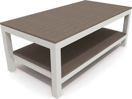 Winston Echo Deep Seating Aluminum Resin Wood 48 x 24 Rectangular Cocktail Table