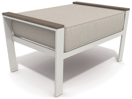 Winston Quick Ship Echo Deep Seating Aluminum Resin Wood Ottoman