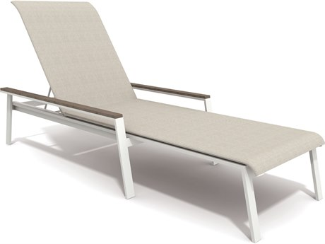 Winston Quick Ship Echo Sling Aluminum Resin Wood Stacking Chaise PatioLiving