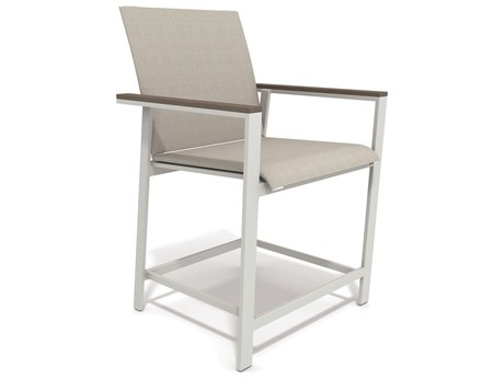 Winston Quick Ship Echo Sling Aluminum Resin Wood Stationary Balcony Height Chair WSHQ145214B
