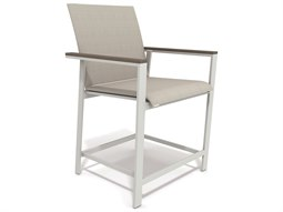 Winston Quick Ship Echo Sling Aluminum Resin Wood Stationary Balcony Height Chair
