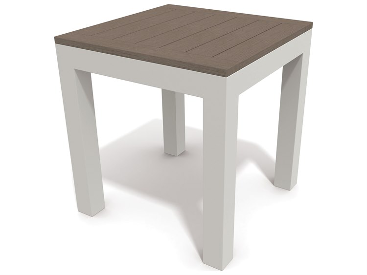 Winston Echo Aluminum Resin Wood 17 Square End Table