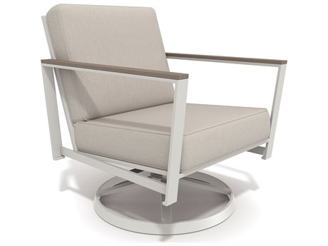 Winston Quick Ship Echo Deep Seating Aluminum Resin Wood Swivel Tilt Lounge Chair