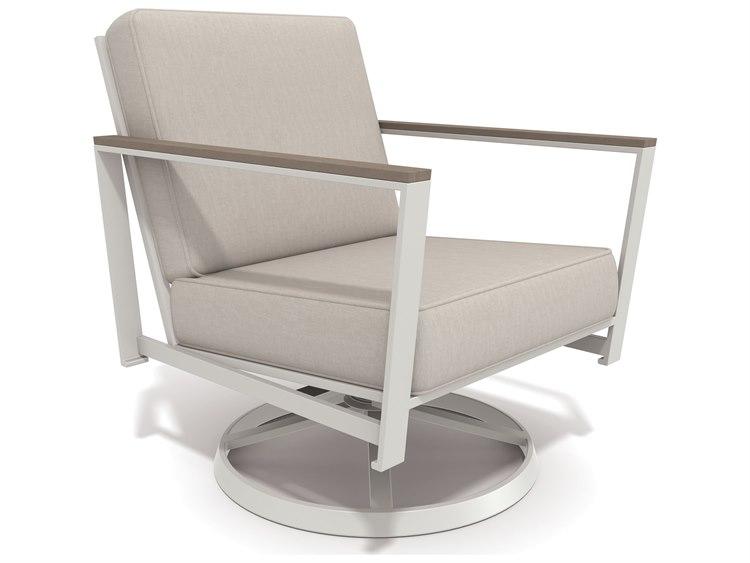 Winston Quick Ship Echo Deep Seating Aluminum Resin Wood Swivel Tilt Lounge Chair