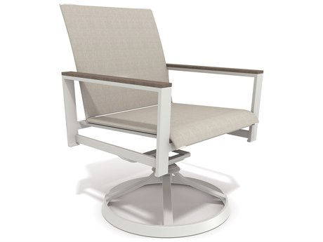 Winston Quick Ship Echo Sling Aluminum Resin Wood Swivel Tilt Chair PatioLiving