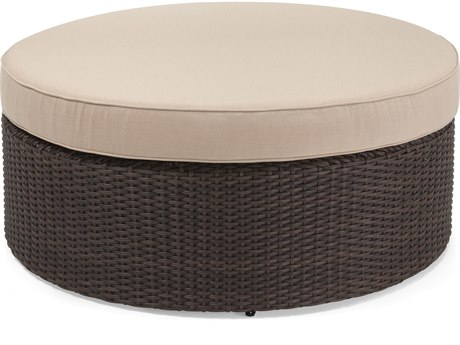 Winston Quick Ship Capri Woven Cushion Round Coffee Table / Ottoman