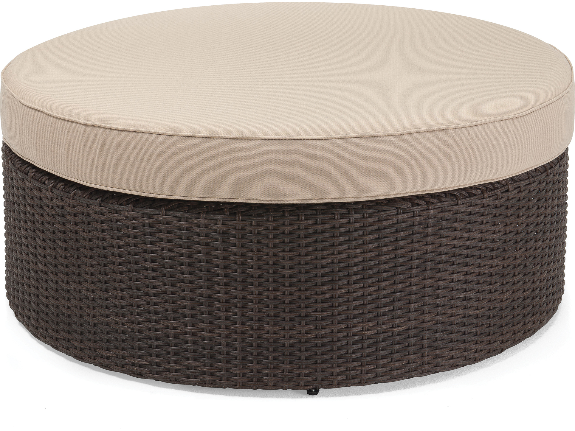 Winston Quick Ship Capri Woven Cushion Round Coffee Table Ottoman Hq155058