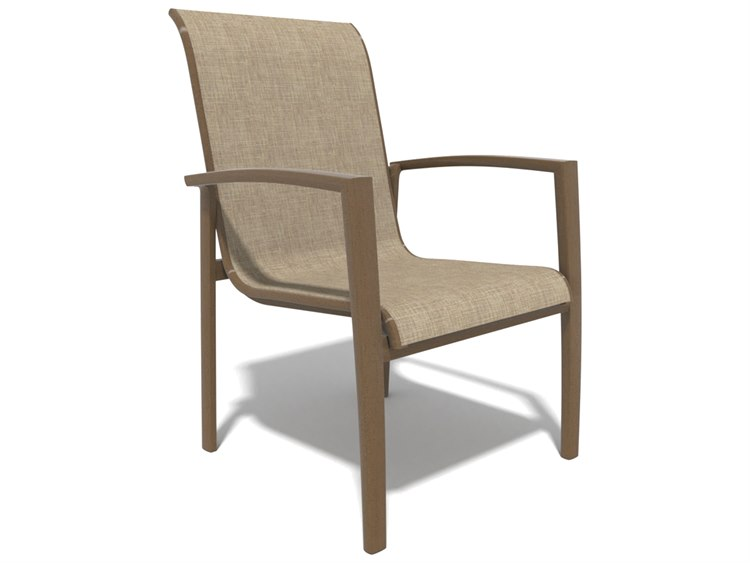 Winston Soho Quick Ship Birch Aluminum Dining Chair with Augstine Fennel Sling PatioLiving