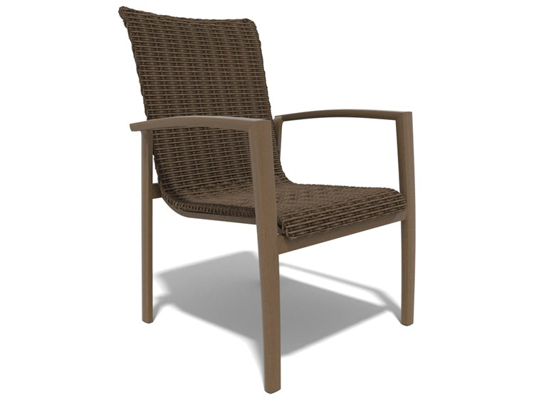 Winston Soho Woven Quick Ship Birch Finish with Warm Bronze Wicker Dining Chair