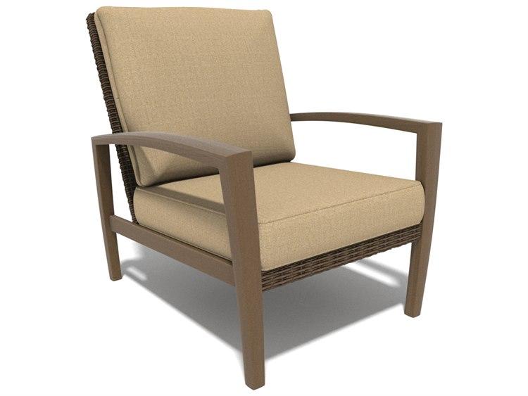 Winston Soho Cushion Quick Ship Birch Finish and Warm Bronze Wicker Lounge Chair