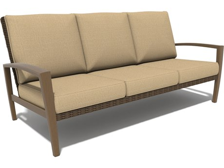 Winston Soho Cushion Quick Ship Birch Finish and Warm Bronze Wicker Sofa