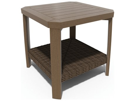 Winston Soho Cushion Quick Ship Birch Finish and Warm Bronze Wicker 22'' Square End Table