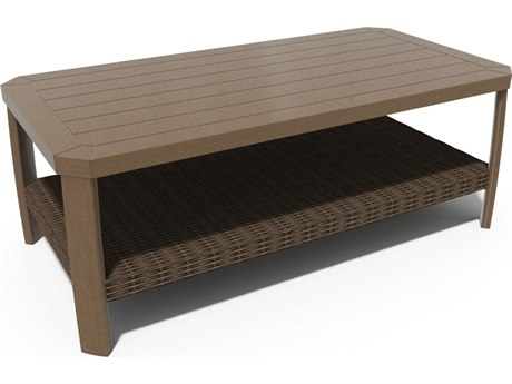 Winston Soho Cushion Quick Ship Birch Finish and Warm Bronze Wicker 48''W x 24''D Rectangular Coffee Table