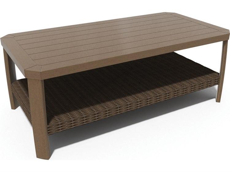 Winston Soho Cushion Quick Ship Birch Finish and Warm Bronze Wicker 48''W x 24''D Rectangular Coffee Table