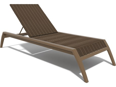 Winston Soho Woven Quick Ship Birch Finish with Warm Bronze Wicker Chaise