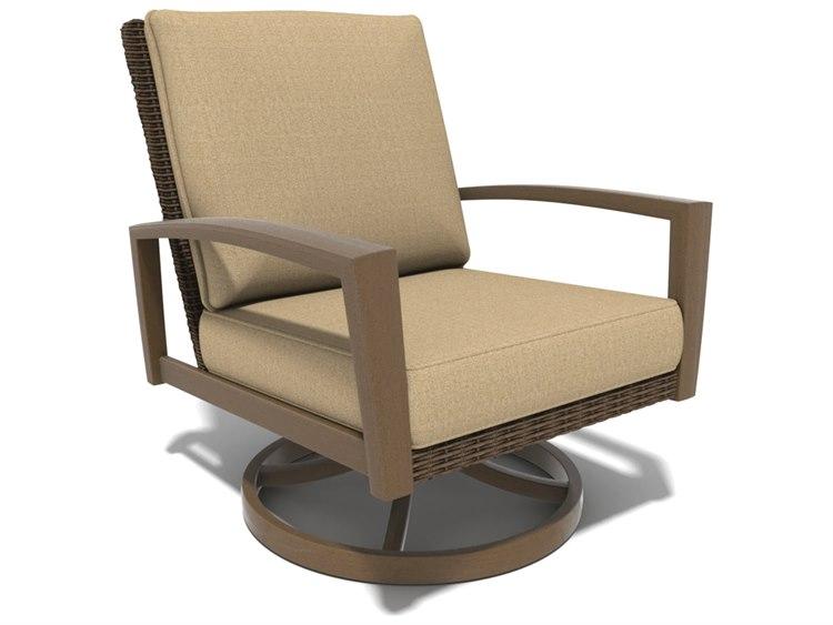 Winston Soho Cushion Quick Ship Birch Finish and Warm Bronze Wicker Swivel Rocker Lounge Chair